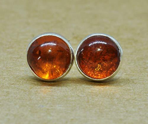 Amber Earrings 5 mm sterling silver amber jewelry ()