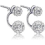 8mm Unisex Women Shamballa Premium Crystal 925 Sterling Silver Ear Stud Earring Disco Ball,WISH026