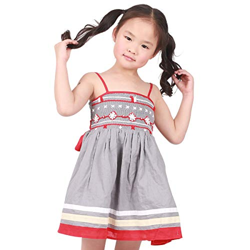 JannyBB Spaghetti Smocked Embroidery Tunic Swing Casual Party Little Girls Dress Boutique Clothing for Kids Grey 4 ()