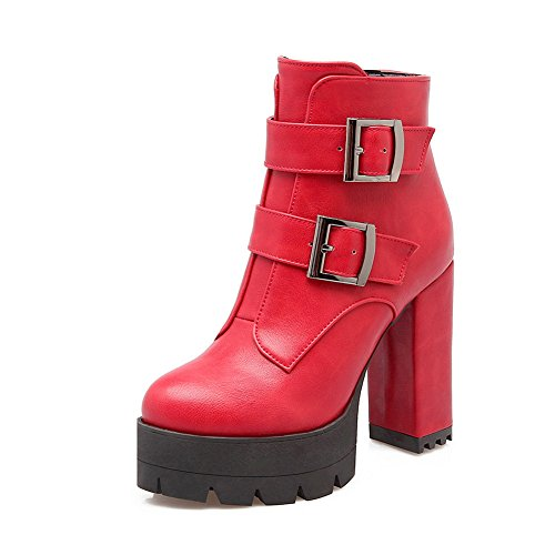 Chunky Imitated BalaMasa Red Womens Leather Buckle Platform Heels Boots 577Bvfq