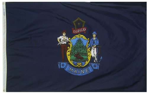 Maine State Flag (Maine State Flag 3x5 ft. Nylon SolarGuard Nyl-Glo 100% Made in USA to Official State Design Specifications by Annin Flagmakers.  Model)