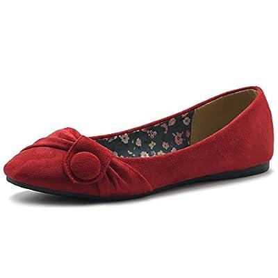 Ollio Women's Shoe Faux Suede Decorative Button Ballet Flat
