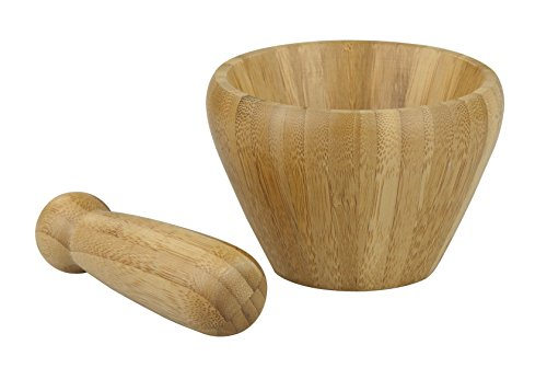 Home Basics Mortar and Pestle Bamboo 2 Mortar and Pestle crush fresh herbs and other ingredients for fresher flavors than jarred herbs and spices Bamboo construction is simplistic and natural Ideal for cooking and cocktails; 4.5-Inch by 4.5-Inch