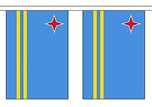 Banderines de poliéster con 30 banderas de los Países Bajos Aruba, 9 m de largo