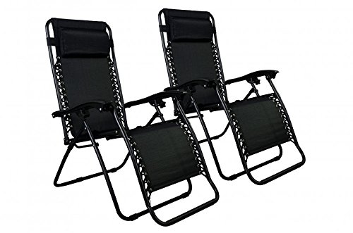 Black 2X Outside Zero Gravity Relax Chair Beach Porch Pool Yard Lounge Outdoor Black (Lounger Relax Costco)