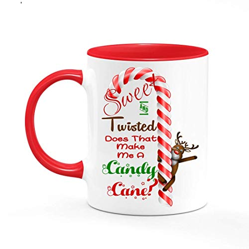 (Sweet & Twisted Does That Make Me a Candy Cane? Reindeer Christmas Holiday Graphic 11 oz White Ceramic Coffee/Tea/Hot Cocoa Mug Cup )