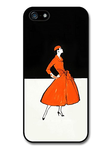 Art Deco Fashion Woman in Orange Dress Black and White Background coque pour iPhone 5 5S