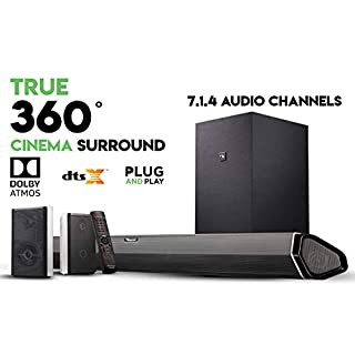 """Nakamichi Shockwafe Pro 7.1.4 Channel 600W Dolby Atmos Soundbar with 8"""" Wireless Subwoofer, 2 Rear Surround Speakers. Experience True 360° Cinema Surround with This Plug and Play Home Theater System"""