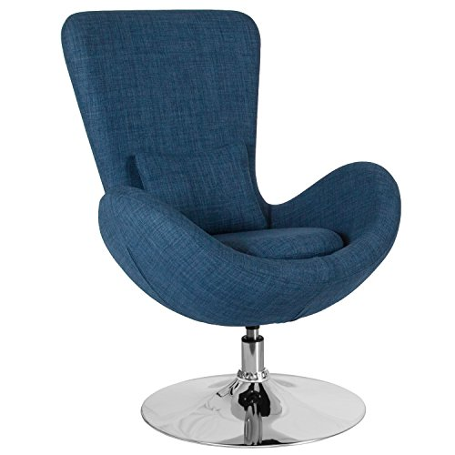 Flash Furniture Egg Series Blue Fabric Side Reception Chair ()