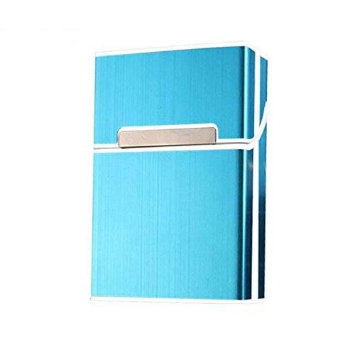 Blue Aluminum Clam (Metal aluminum cigarette case magnetic deduction aluminum cigarette box fashion clamshell cigarette case blue)