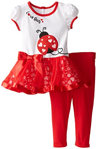 Youngland Little Girls' Love Bug Valentine's Applique Legging Set, Red/White, 4