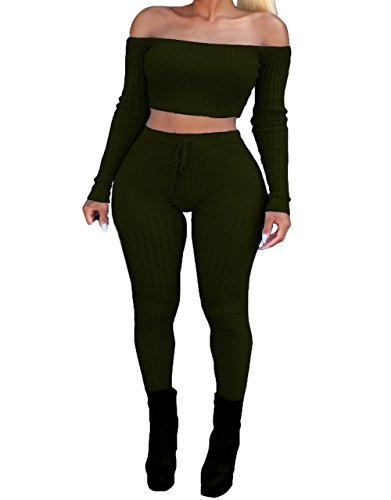 Women's Sexy Two Piece Jumpsuit Outfits Off Shoulder Crop Top and Bodycon Long Pants Set Army Green L