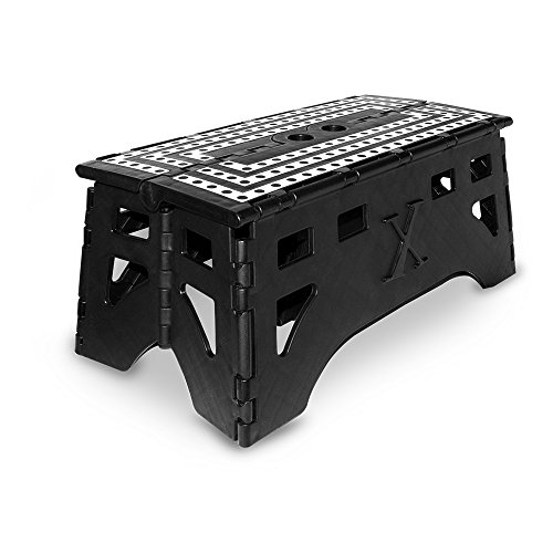 eXpace Folding Step Stool, 20-Inch Extra Wide Heavy Duty, Non-Slip for Indoor and Outdoor Use, Adults and Kids up to 500lb, Black/White