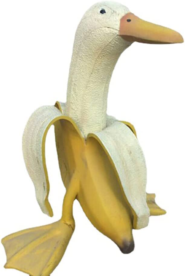 skonhed Creative Banana Duck Art Statue Cute Whimsical Peeled Banana Duck Garden Yard Outdoor Decor