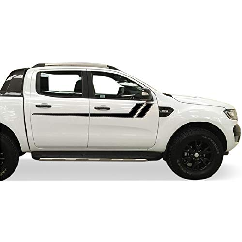 Bubbles Designs Decal Graphic Sticker Side Racing Stripe Kit Compatible with Ford Ranger T6 2011-2017 (Black)