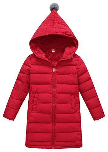 SLUBY Toddler Down Feather Coat Mid Long Hooded Bubble Jacket For Winter Outdoors Red 6-7Y 130CM