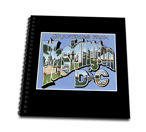 3dRose Greetings from Washington DC Scenic Postcard Reproduction - Memory Book, 12 by 12-Inch - Washington Postcard Photo
