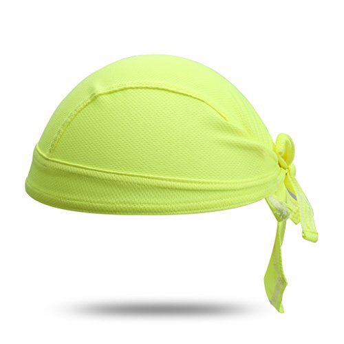 (HYSENM Unisex Solid Color Sun UV Protection Cycling Bandana Cap Helmet Liner Skull Cap Sports Headscarf Quick Dry Sweat Proof Breathable, Yellow)