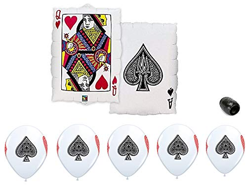 """30"""" Queen of Hearts Ace Spades Foil Mylar Balloon & 11"""" Poker Deck Card Suits Game Night Print Latex Balloon Bundle"""