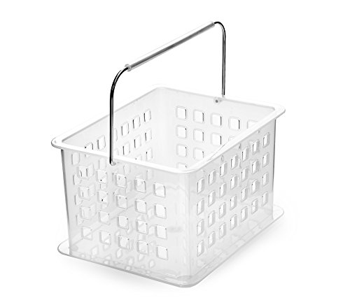 Ybmhome Closet Storage Vanity Organizer Basket, Shower Caddy Tote for Bathroom, Health and Beauty Products, Lotion Perfume, Shampoo, Conditioner, Soap Cosmetics 2135 (1, Frosted White)