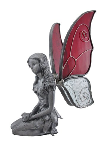 Things2die4 Pewter Collectible Figurines Pewter Kneeling Fairy With Red And Clear Wings 9.5 X 6.5 X 9.5 Inches Pewter