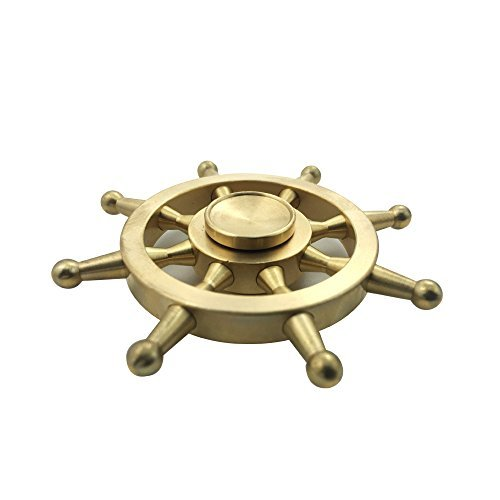 Laifoo New Fidget Spinner Toy Brass Metal Rudder Ship Wheel High Speed Smooth Quiet Hand Spinner for ADHD Relieve Anxiety Stress