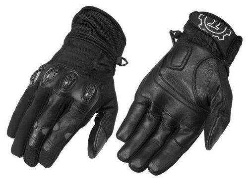 Firstgear Mesh-Tex Mens Black Leather/Textile Gloves - Medium