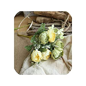 Fashion-LN European Mini Peony Artificial Flower for Wedding Party Decoration Silk Peony Flower Bouquet for Home Decor Fake Flower,Champagne Green 8