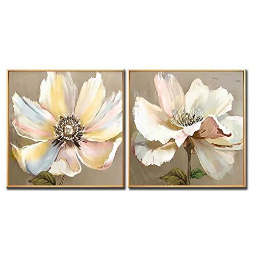YYJHMK Flor de loto Arte Pintura al oleo Lienzo Arte de la pared Envio gratis Inicio Pared Flor grande Arte Decoracion de la pared