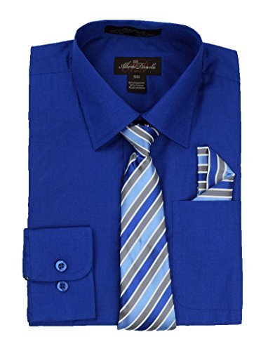 (Alberto Danelli's Boys Long Sleeve Dress Shirt with Matching Tie and Handkerchief, 8, Royal)
