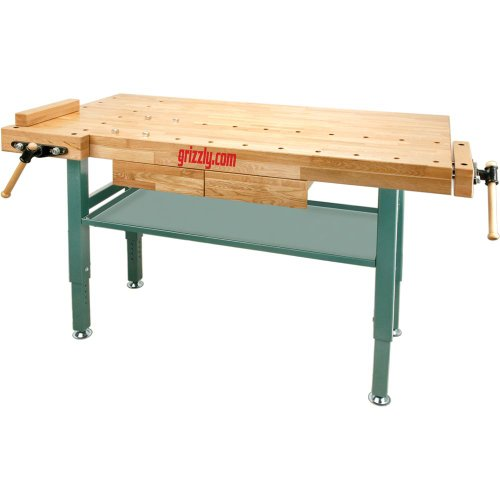 Grizzly T10157 Heavy-Duty Oak Workbench with Steel Legs by Grizzly (Image #1)