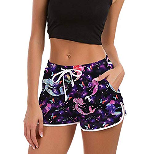 ▶HebeTop◄➟HOT SALES High Waisted Women Shorts,lSoft and Comfy Yummy Popular Print Harem Shorts with Pocket Purple