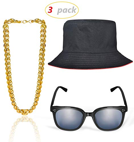 3 Set Hip Hop Costume Kit Gold Chain (22