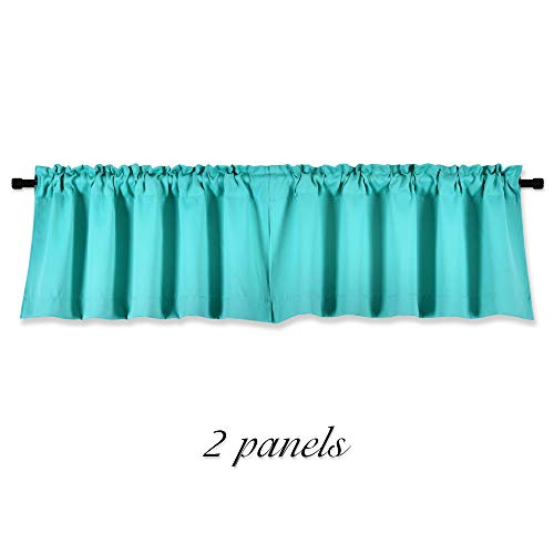 DONREN Turquoise Window Valances for Kitchen -Blackout Valances for Window with Rod Pocket (42 by 15 Inch,2 Panels) (Valances Windows Turquoise For)