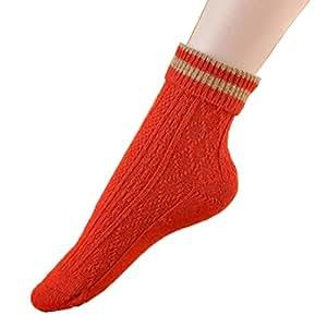MERSUII 1 Pair Women Heavyweight Wool Socks Winter Socks Boot Full Cushion Socks, orange