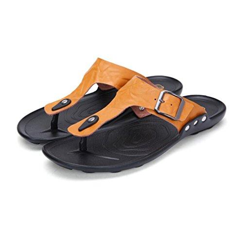 Hombre Flop Slip On Aire para B para Informal Home Cuero Sandalias Holiday de Zapatillas Amarillo Flip Hombres Juleya Libre Summer Tanga Beach Chanclas Planas al TqYaI4x