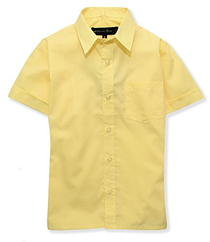 Johnnie Lene Boys Short Sleeves Solid Dress Shirt #JL44 (12, Yellow)]()