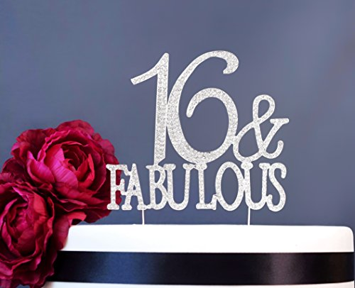 16 and Fabulous Sweet 16 Cake Topper | Premium Sparkly Crystal Rhinestone Gems | 16th Birthday Party Decoration Ideas | Quality Metal Alloy | Perfect Keepsake (16&Fab Silver) Sweet 16 Birthday Centerpieces