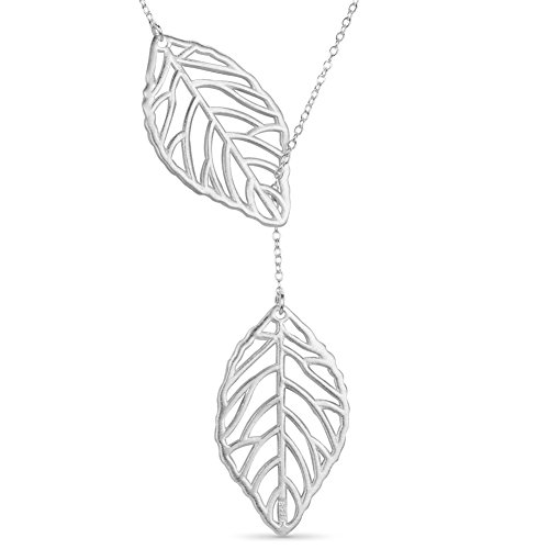 (SHEGRACE 925 Sterling Silver Lariat Necklace with Leaves Silver 400mm for Women)