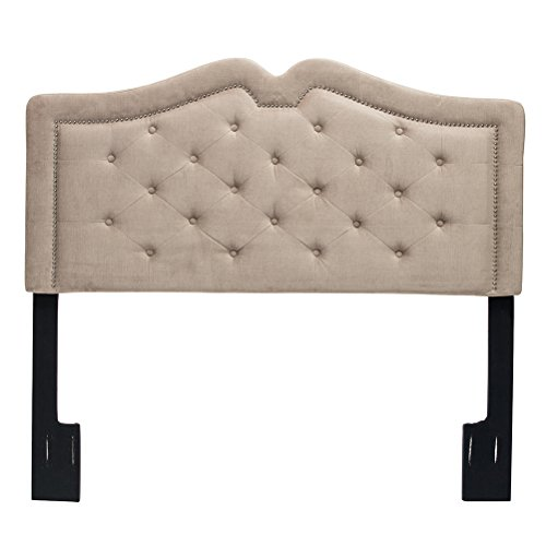 Arched Velvet Upholstered Headboard (Andeworld Classic Nailhead Upholstered Velvet Height Adjustable Queen Size Full/Queen Headboard with Button Tufted Taupe)