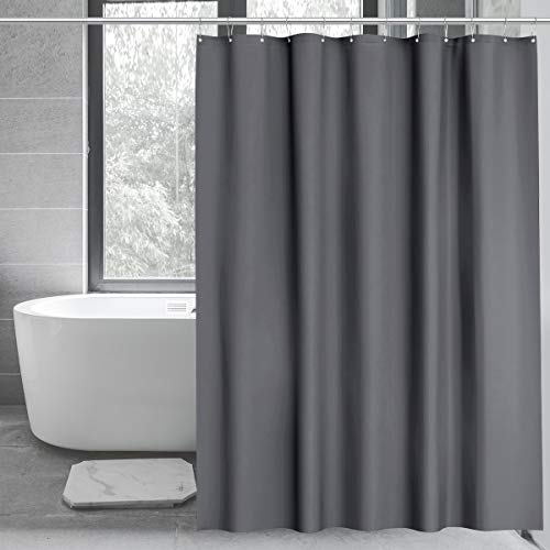WELTRXE PEVA Shower Curtain Liner with Magnets, Heavy Duty 8G Plastic Shower Curtain with Hooks for Bathroom, Bathtub, No Smell, 72 x 72, Gray