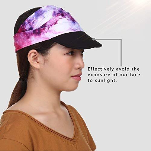 9fe9154dbba Hotsung Yoga Headband for Women Men.Novel Design Headwrap with UV Sun  Protetive Soft Visor Brim