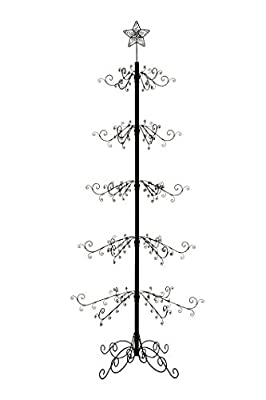 HOHIYA Metal Ornament Display Tree Stand Hook Hanger Christmas Halloween Bauble Ball Dog Cat Glass Class Country Ornaments 84inch(Black)