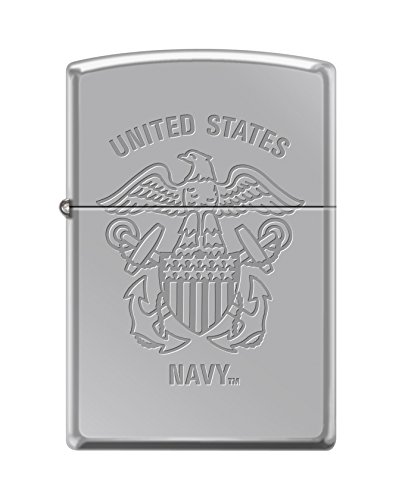 Zippo US Navy Lustre Etch Emblem High Polish Chrome Pocket Lighter ()