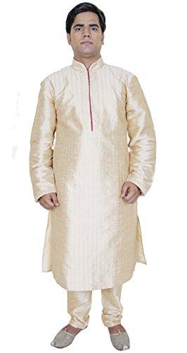 Indian Kurta Pajama Men Long Sleeve Shirt Pyjama Set Ethnic Wear Wedding Outfit -M by SKAVIJ