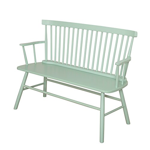Target Marketing Systems Shelby Wooden Bench with Spindle Back and Arms, Mint