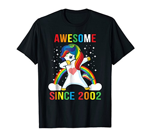 Dabbing Unicorn Awesome Since 2002 16th Birthday T Shirt by Mr Ben Unicorns