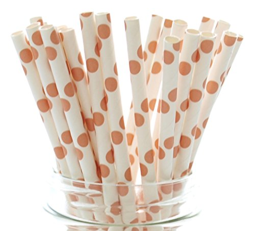 Orange Autumn Fall Polka Dot Straws - 25 Pack - Wedding Party Supply Straws, Long Paper Straws, Orange Polka Dot Straws (Limeade Dot)