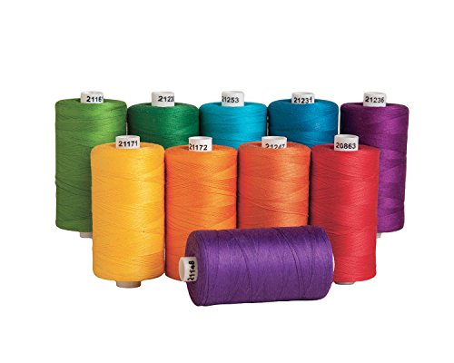 Connecting Threads 100% Cotton Thread Sets - 1200 Yard Spools (Color Wheel - Set of 10)
