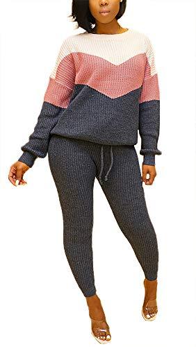 Women Winter Kint-Fall 2 Piece Outfits Long Sleeve Pullover Sweater Drawstring Pants Sweatsuit